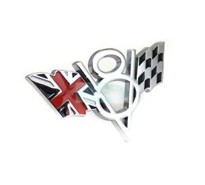 Silver V8 England Britain Flag Chrome Metal Grill Emblem Badge Jaguar Land Rover