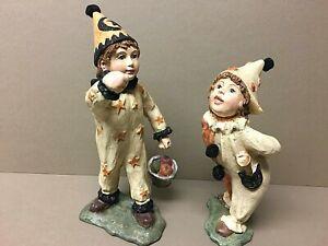 BETHANY LOWE Halloween Figurines-Boy & Girl Bobbing For Apples-Boy Missing Stick