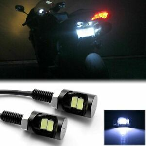 White 5730 2-SMD Bolt-On LED License Plate Screw Rear Light Bulbs for Motorcycle
