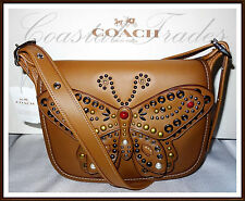 Coach Calf Leather Patricia 23 Studded Butterfly Bag Purse SADDLE BROWN 59353