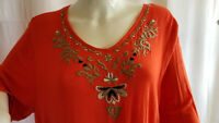 Onque Casual Red Top Womens 2X-LARGE Plus Size Embroidery 3/4 Sleeve NEW Gift