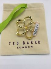 $79 Ted Baker Large Crystal Blossom Brooch  Gold  Tone #313
