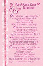 WALLET CARD FOR A VERY DEAR DAUGHTER Keepsake Sentimental Verse Love Present
