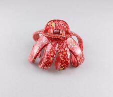 Red octopus hair clip big barrette plastic claw clamp accessory marbled