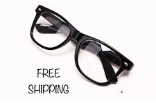 Clear Lens Black Frames Glasses Designer Fashion Nerd Geek Mens Women's WayFare