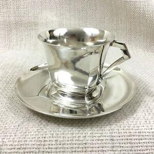 Sue et Mare Christofle Silver Plated Teacup and Saucer Art Deco Cubist RARE