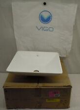 VIGO Hibiscus Matte Stone White Acrylic Vessel Square Bathroom Sink VG04004