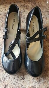 Ladies Black Patent Mary Jane Style Heeled Shoes New Size 7