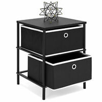 BCP Bedroom Nightstand End Side Table w/ 2 Drawers for Storage - Black
