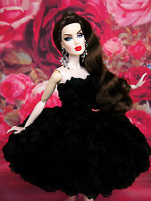 Black Flower Cocktail Evening Dress Outfit Gown Silkstone Barbie Fashion Royalty