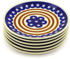 "Polish Pottery Set of 6 Plates 7"" Stars And Stripes Foreve"
