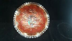 "RARE ANTIQUE MARIGOLD CARNIVAL  GLASS BOWL BY IMPERIAL ""ROSE"" PATTERN"