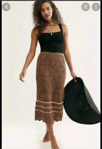 Free People Salty Point Brown Crochet Skirt size Medium