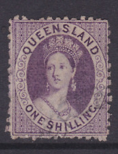 QUEENSLAND EARLY 1876 1/- Mauve QV CHALON LIGHT USED SG 108 (HL314.5)