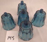 Votive Cups Set of 5 Homco Home Interior Cerulean Blue Glass Panel Design