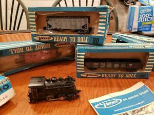 Varney Vintage O-4-0 Dockside and freight cars in original boxes. 1950s. Running