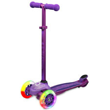 Crazy Joey GLO 3 Wheel Kids Scooter LED Light Up with Knee Wrist Elbow Pads PPL