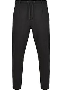 Urban Classics Formula Cropped Peached Interlock Pants Herren Jogginghose Schwar