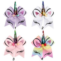 New Unicorn Cheer Bow With Rubber Band For Girls Kids Sequin Ponytail Hair Bows