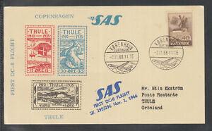 A-24) beautiful FFC First Flight Card SAS 1966 Copenhagen to Thule