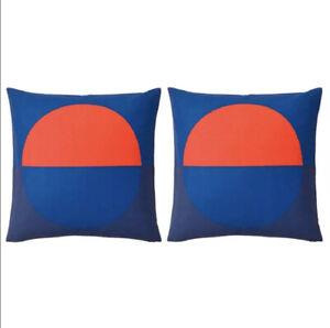 "IKEA Set/2 Majalotta Cushion Pillow Cover Blue and Bright Orange 20x20"" Square"