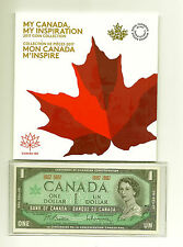 MY CANADA MY INSPIRATION 2017 SEVEN COIN SET and 1967 UNC BANK NOTE
