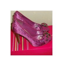 NEW BCBGirls BG-Elga Crush Berry Printed Open -Toe Heels Pumps Shoes Size: 8.5