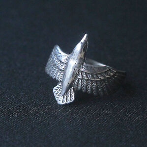 Sterling Silver Flying Raven Ring Size 7 Crow Poe Black Bird 168