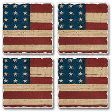 Western Lodge Cabin Decor Grand Ole Flag Coasters Set of 4 MADE IN THE USA