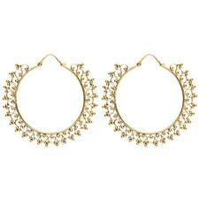 81stgeneration Women's Brass Gold Indian Dotwork Ethnic Tribal Large Earrings