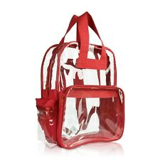 DALIX Clear Backpack Transparent School Bag in Red Small to Medium Size