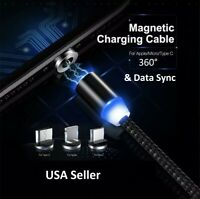 3 IN 1 Magnetic USB Lightning Fast Charging Cable Charger Data Sy iPhone Samsung