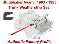 Studebaker Avanti 63-85 Trunk Lid Seal / Weatherstrip - Authentic Factory Design