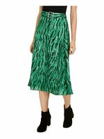 INC Womens Green Belted Printed Below The Knee Circle Skirt Size: 12