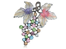 Fruit Pin Brooch Pendant Jewelry Austrian Crystal Rhinestone Multi-Colored Grape