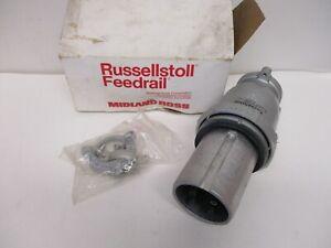 RUSSELLSTOLL FEEDRAIL CAT#JPS634H 60A 600VAC-250V. TYPE J WATERPROOF PLUG, NEW