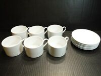 LOT 6 FITZ & FOYD EVERYDAY WHITE PORCELAIN 8 oz COFFEE TEA CUPS & ROUND SAUCERS