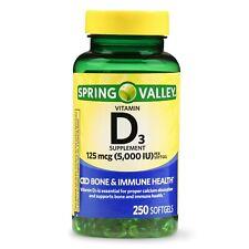 New Spring Valley Vitamin D3 Softgels 5000 IU 250 Ct.