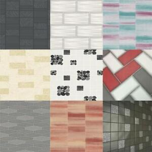 Luxury Vinyl Kitchen & Bathroom Tiled Ceramica Dotty Washable Wallpaper