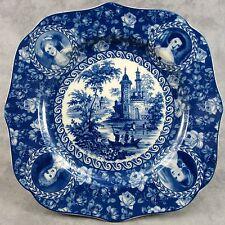 BLUE & CREAM TRANSFERWARE VICTORIAN COUNTRY TOILE PLATE ~PORTRAIT & ROSE BORDER~