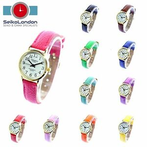 Tiempo Ladies Easy Read Watch, White Dial, Various Colours, Gold Finish