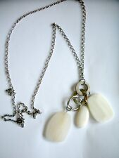 """VTG STATEMENT NECKLACE 20"""" WHITE FAUX STONE RECTANGLE BEADS ABALONE SILVERTONE"""