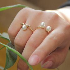 Fashion Gold Plated Faux Pearl Ring JZ0080