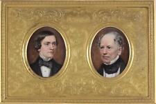 English School Antique Miniature Watercolour Double Portrait Painting Pair Gents