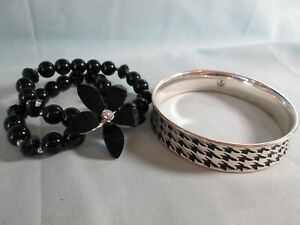 Premier Designs Textured Black Enamel Silver Plated Bangle Bracelet w/ Bonus