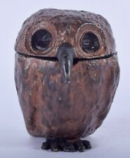 Antique Cold Painted Bronze Owl Inkwell BERGM AUSTRIA