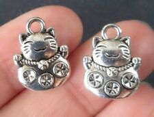 10pcs-2 sided silver tone Fortune Cat charm,good luck charm,Asian charm