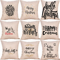 Festive Christmas Linen Cotton Cushion Cover Throw Pillowcase Xmas Home Decor
