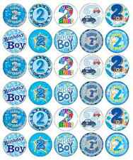 30x 2nd Birthday Boy Blue Cupcake Toppers Edible Wafer Paper Fairy Cake Toppers
