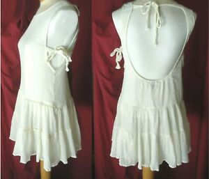Asos Dress Cotton Tiered Lined size 4 open back & sides w/ties
